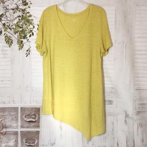 Eileen Fisher asymmetrical yellow linen t shirt